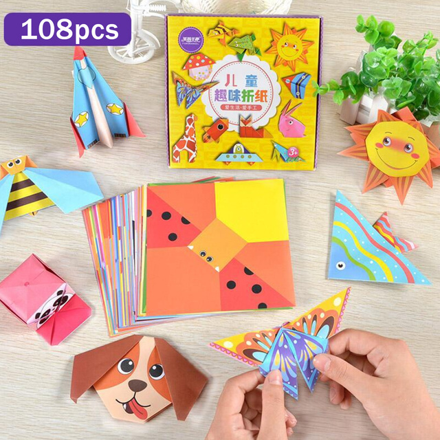 108 Sheets Kids DIY Crafts Children Origami Folding Paper for Kindergarten Nursery School Art Projects Early Educational Toy