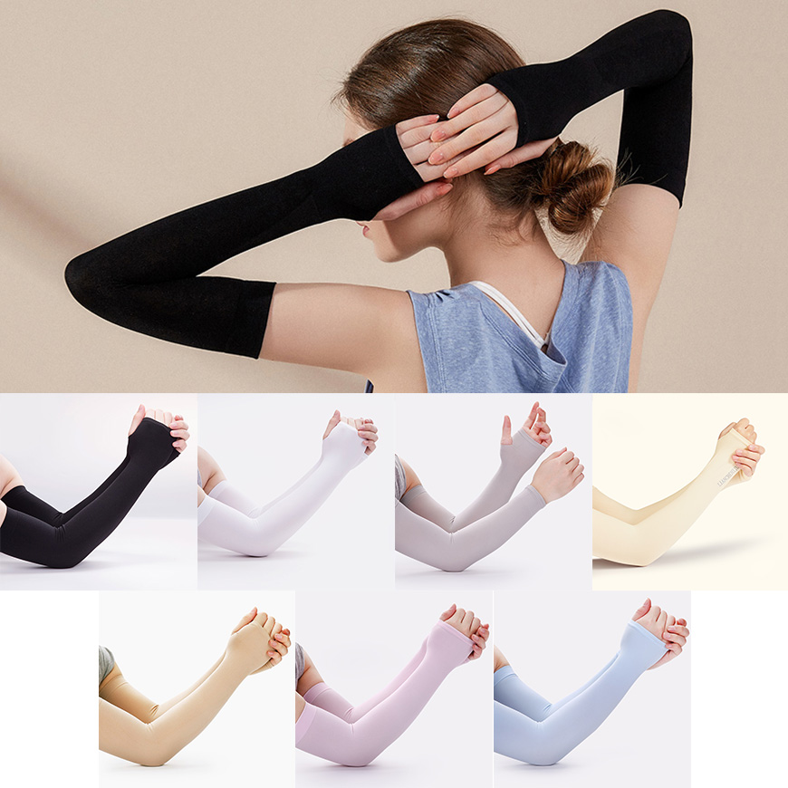 Summer Arm Sleeves UV Sun Screen Lady Solid Arm Warmers Suff Running Sleeve Slim Cover Fashion Accessories 2020 New
