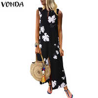 VONDA Women Maxi Long Dress 2020 Summer Sleeveless Split Print Party Dress Casual Plus Size Vestidos Vintage Bohemian Robe Femme
