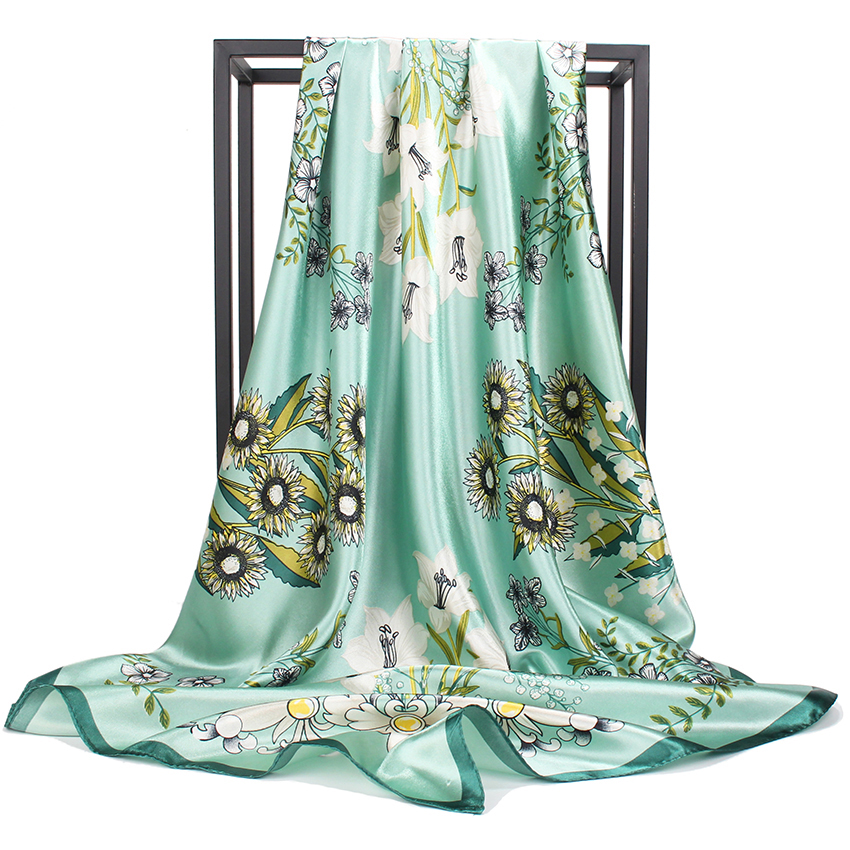 Silk Scarves Women Print Satin Handkerchief Scarfs Female Foulards Bandana Luxury Brand Shawls Wraps 90cm Square Head Scarf