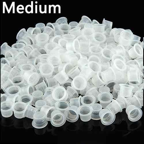 100Pcs Kecil Menengah Besar Jelas Plastik Putih Tato Tinta Cangkir Pemegang Perlengkapan Clear Holder Wadah Cap Tato Aksesori
