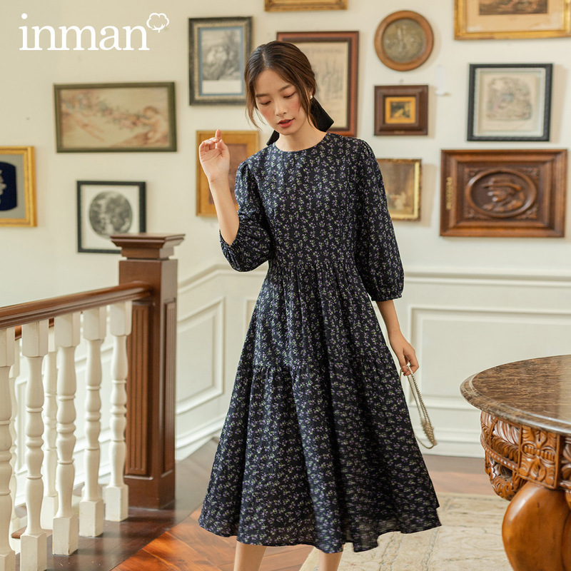 INMAN 2020 Autumn New Arrival Literary Blue High Waist Floral Bubble Sleeve Middle Sleeve Ruffled Dress