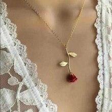 Массивное ожерелье с подвеской в виде розы из сплава, 4 цвета, Женские Ювелирные аксессуары, Золотая цепочка, ожерелье для женщин, подарок на день памяти