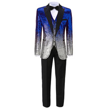 Shiny 3 Pieces Sequin Men Slim Fit Royal Blue Lapel Red Blazer+Vest+Pant Gold Tuxedo Green Suit For Prom Party Wedding Nightclub(China)