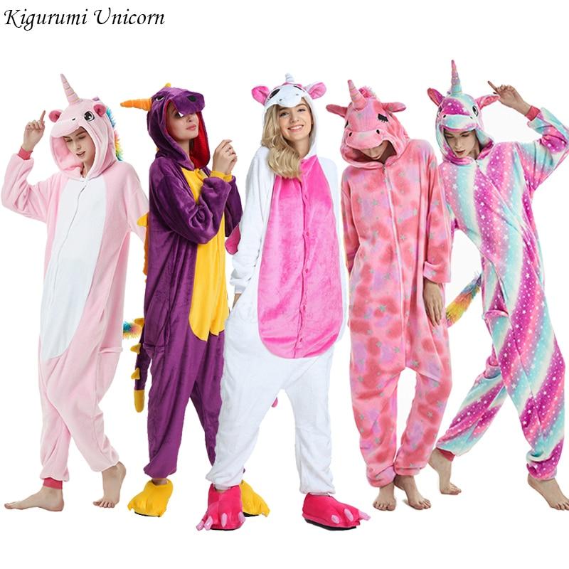Kigurumi Unicorn Pajama Adult Animal Stitch Onesie Boys Girls Women Men  Couple 2019 Winter Pajama Suit Sleepwear Flannel Pijama