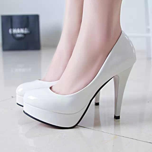 2019 Wanita Sepatu Hak Tinggi Kulit Paten Sepatu Tunggal Tipis Heel Sepatu Wanita Hitam Sepatu Kerja Sepatu Merah Pernikahan Sepatu 41 42