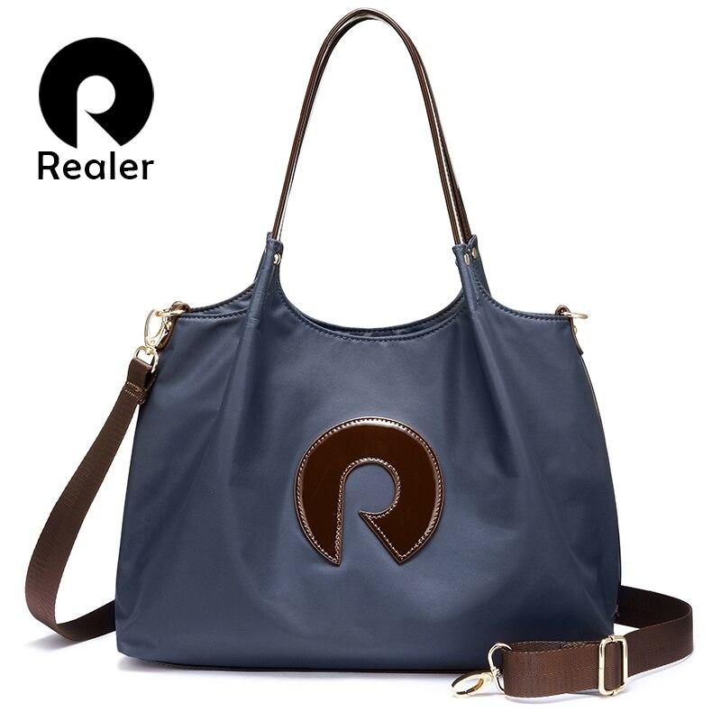 REALER женщин сумки оксфордская сумка через плечо женская сумка через плечо, сумки для девушек, сумки с верхней ручкой большой емкости широкий ремень|Сумки с ручками|   | АлиЭкспресс
