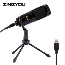 ZINGYOU USB Studio Microphone Desktop Wired Speech Condenser Microphone With Tripod Stand For PC Chatting Karaoke Microfone Kit