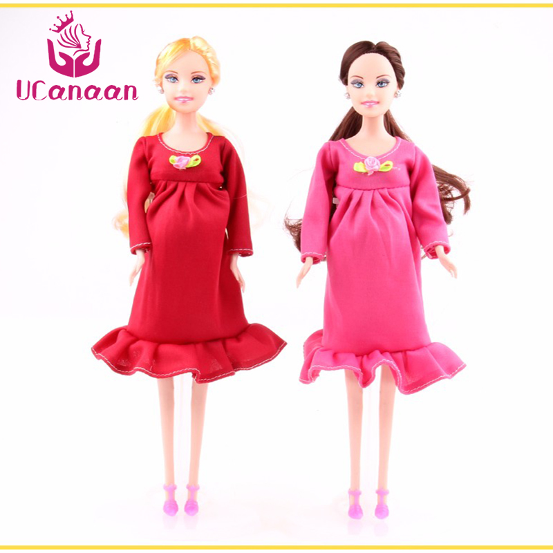 UCanaan New Educational Real Pregnant Doll Suits Mom Doll Have A Baby in Her Tummy Best Friend Play with Girls Toys Best Gift image