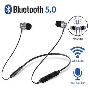 FOOVDO 5.0 słuchawki Bluetooth wodoodporne słuchawki bezprzewodowe Sport magnetyczne wsparcie z pałąkiem na kark karty TF słuchawki douszne zestaw słuchawkowy z mikrofonem
