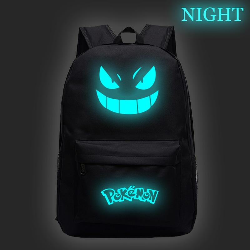 Pokemon Luminous Backpack Fashion New Pattern Pokemon Pikachu Travel Rucksack Student Gengar Boys Girls Mochila School Bag