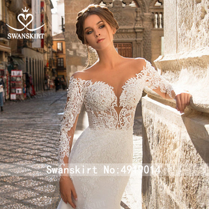 Image 3 - Sweetheart Mermaid Wedding Dress Vintage Long Sleeve Illusion  Court Train Swanskirt GI27 Bridal Gown Princess Vestido de novia