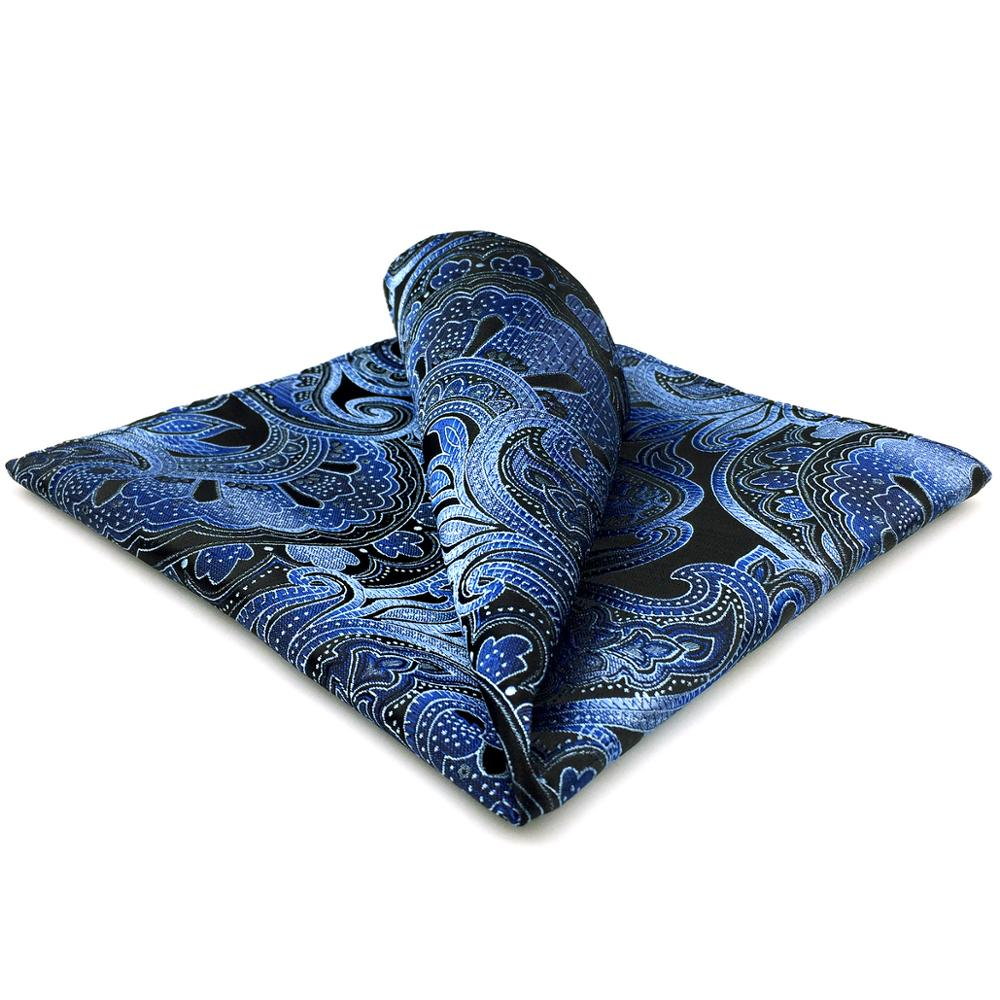 CH23 Blue Black Paisley Silk Mens Pocket Square Fashion Classic Hanky Dress  Acceossories Handkerchief