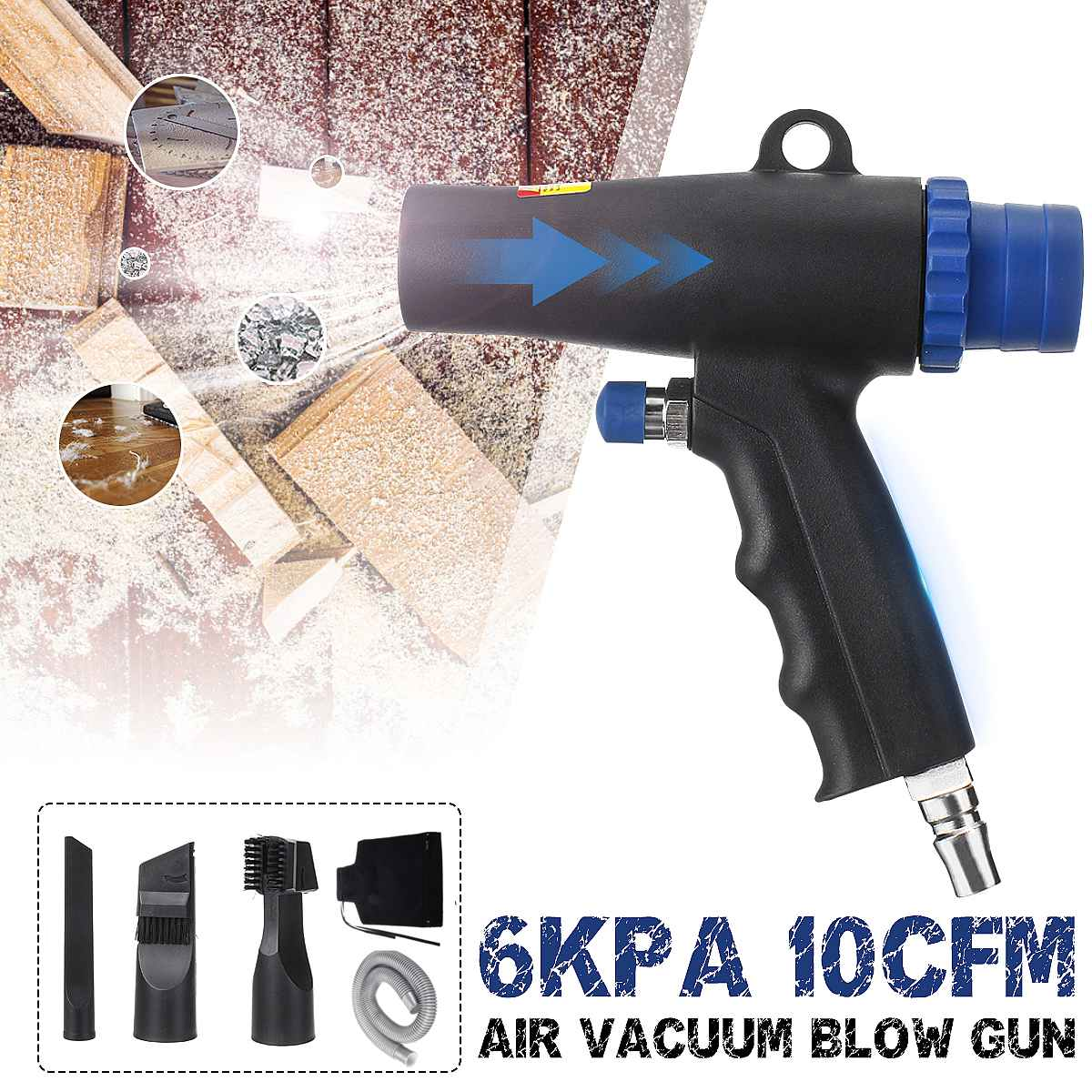 2 In 1 Air Duster Compressor Dual Function Air Vacuum Blow Suction Guns Air Wonder Guns Kit Pneumatic Vacuum Cleaner Tool
