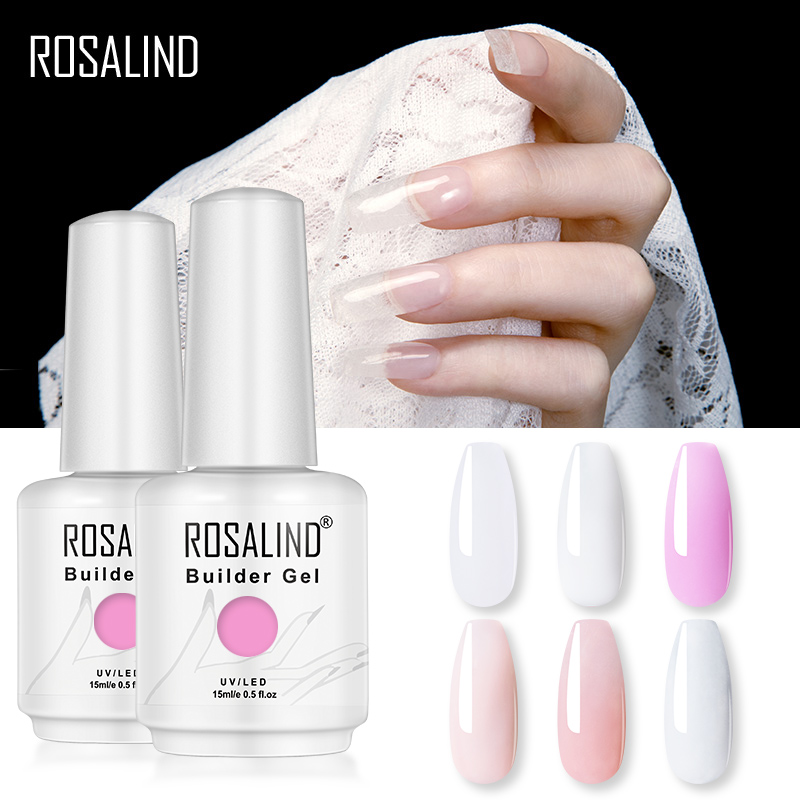 ROSALIND 15ML Builder Gel Nail Polish Clear Nail Gel Varnishes For Nail Art Designed Soak Off Semi Permanent UV Lamp Manicure(China)