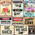 Табличка в виде женской пещеры Добро пожаловать в мой домик, винтажные металлические знаки, забавные жестяные Плакаты для бара, паба, кафе, д...