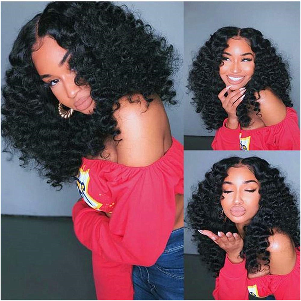 Lace Front Wigs Human Hair Pre Plucked Brazilian Kinky Curly With Baby Hair260 Density Natural Hair Wigs For Black Women