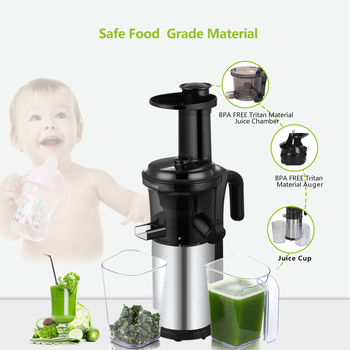 200W 40RPM Stainless Steel Masticating Slow Auger Juicer Fruit and Vegetable Juice Extractor Compact Cold Press Juicer Machine 5