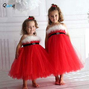 Qunq Red Christmas Girls Princess Dress White Plush Kids Sling Dresses for Girls 2 3 4 5 6 Year Toddler Baby Children Outfits