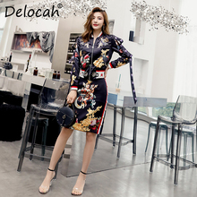 Delocah New Women Autumn Vintage Sets Runway Fashion Long Sleeve Beading Tops And Character Printed Midi Skirt Two Pieces Set