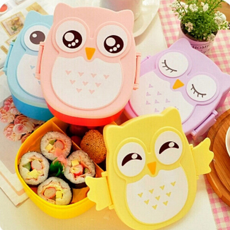 Cartoon Owl Lunch Box Kids Food Container Microwavable Plastic Storage Bento 900ml with Compartments for Student School Picnic