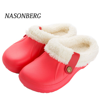 NASONBERG Indoor Home Slippers Women Men With Fur Winter Keep Warm Shoes Woman Black Gray Waterproof Unisex - discount item  40% OFF Women's Shoes