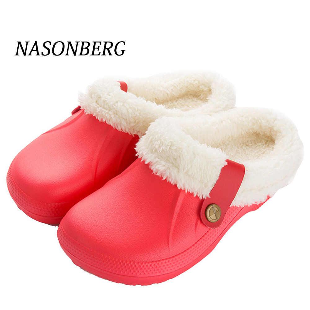 NASONBERG kapalı ev terlik kürklü kadınlar kışlık terlik tutmak sıcak ayakkabı kadın siyah gri su geçirmez
