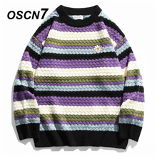OSCN7 Funny Oversize Sweaters Men 2020 Winter High Streetwear Fashion Mens Pullovers Round Neck Vintage Sweaters 0524
