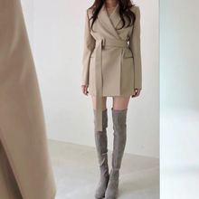 Casual Sashes Pockets Office Lady Long Blazers