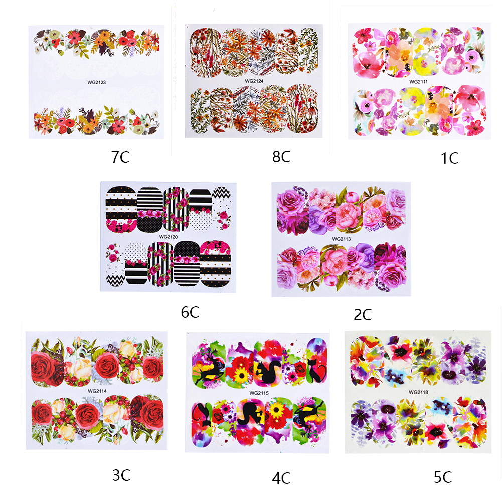 Flower Leaves Nail Sticker Decals Blossom Colorful Slider Rose Water Transfer Nails Stickers Full Wraps Nail Art Decoration