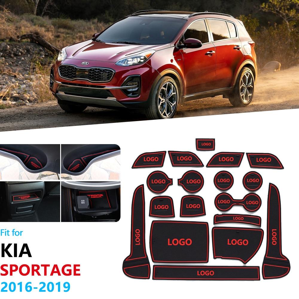 Anti-Slip Rubber Gate Slot Cup Mat For KIA Sportage 2016 2017 2018 2019 QL 4th Gen MK4 KX5 Coaster Accessories Car Stickers