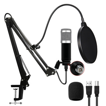 Computer Usb Streaming Podcast Pc Microphone Professional Studio Cardioid Condenser Mic Kit with Sound Card Boom Arm Shock Mount