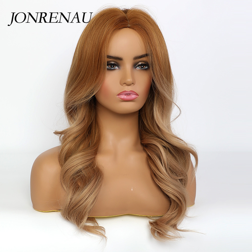 JONRENAU Syntheic Honey Brown Everyday Wigs for Black White Women Medium Length Natural Wave Hair  Wigs Heat Resistant Fiber