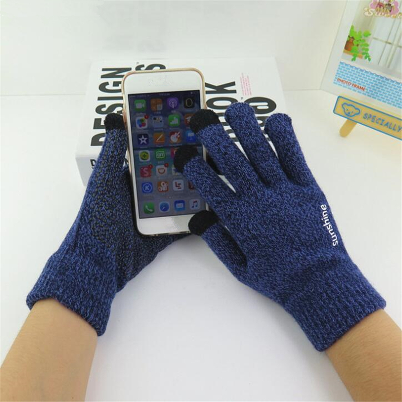 NDUCJSI High Quality Male Thicken Warm Wool Cashmere Unisex Gloves Business Winter Men Knitted Gloves Touched Screen Mittens