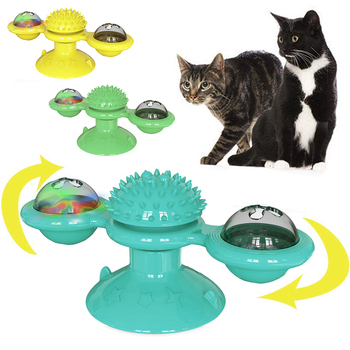 Juguetes para mascotas, rompecabezas giratorio para gatos y perros, Bola brillante, molino giratorio interactivo, juguete para gato y gatito, suministros para juegos de gatos