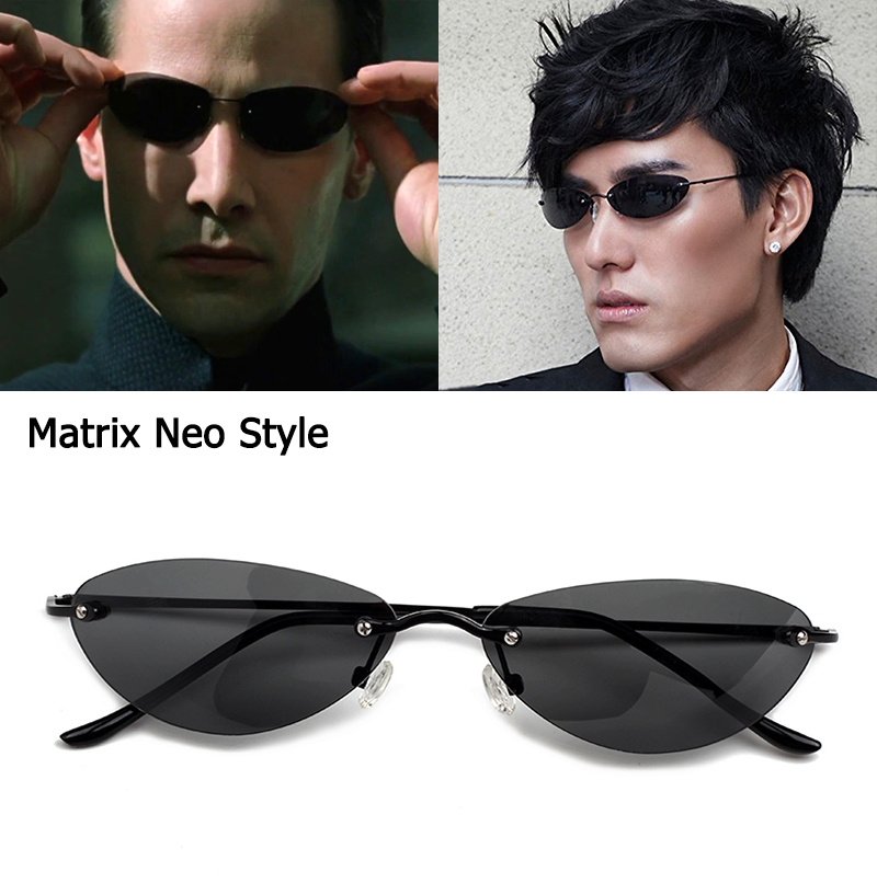 JackJad Fashion Cool The Matrix Neo Style Polarized Rivets Sunglasses Men Slim Rimless Brand Design Sun Glasses Oculos De Sol