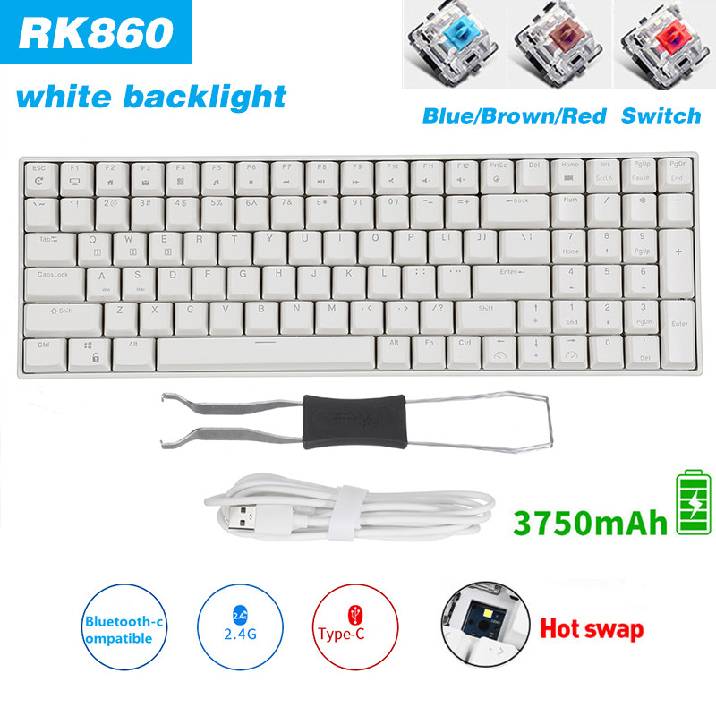 Permalink to RK860 Mechanical Gaming Keyboard HotSwap 100keys Bluetooth-compatible/2.4G/Wired 3 Mode Blue Brown Red Switch For Desktop Laptop