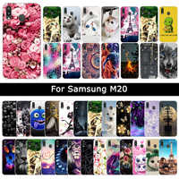 Soft Silicone TPU Cases For Samsung Galaxy M20 M 20 Flowers Cat Protective Patterned Covers Animal Phone Case Shells Fundas Capa