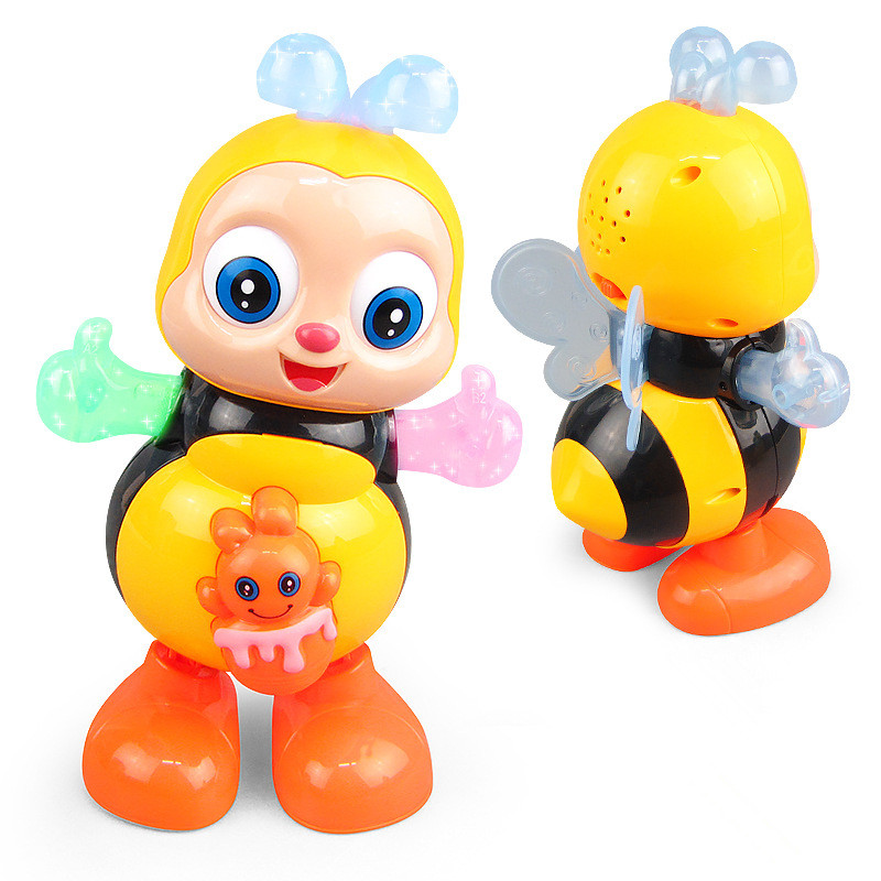 Electric Dancing Sing Cartoon Bee Lighting Music Animal Plastic Doll Gift Kids Toy