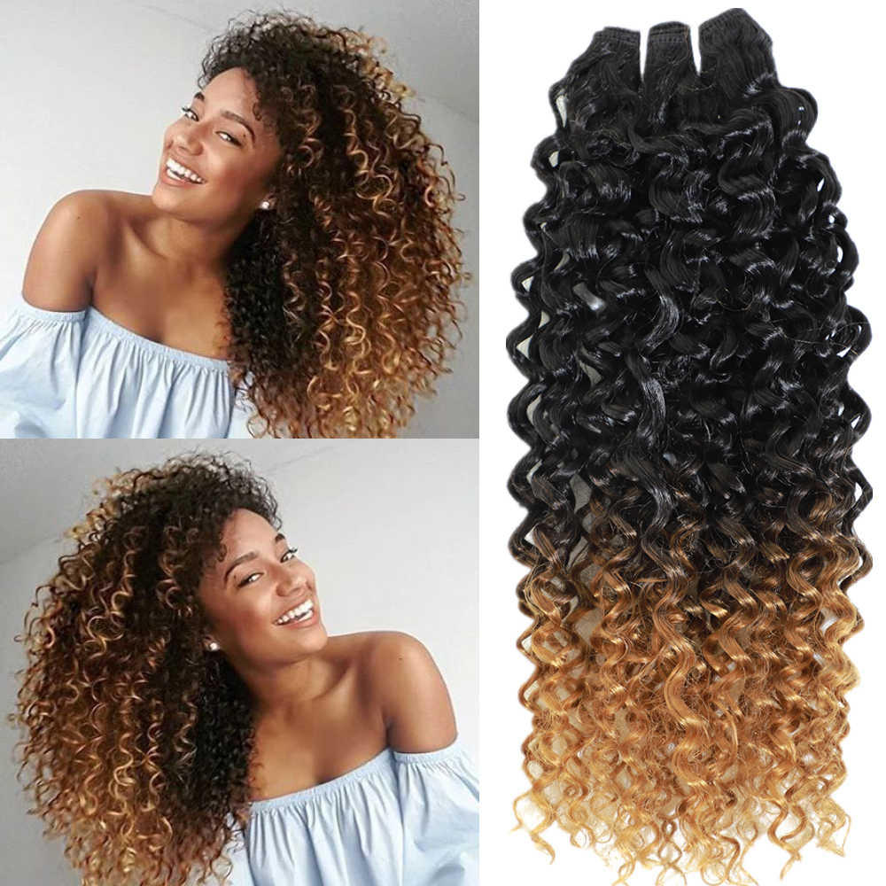 Synthetic Kinky Jerry Hair Extensions For Women Heat Resistant Kinky Curly Synthetic Hair Weaves 8 Bundles 240g All In One Pack