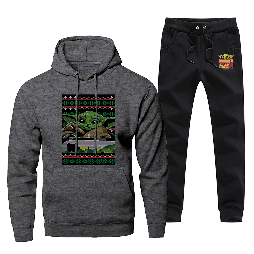 TV Show The Mandalorian Men's Sportswear Sets Cute Baby Yoda Star Wars Tracksuit 2 Piece Sweatshirt + Sweatpants Fashion New Set
