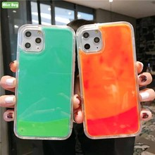 Liquid Quicksand Luminous Phone Shell For iPhone 11 Pro Max XS XR X 6 6S 7 8 Plus Cover Soft Edge Case Glowing At Night Capa