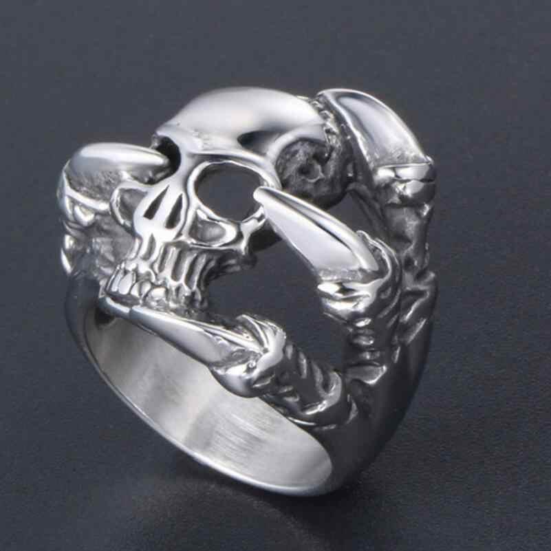 男性のステンレス鋼ファッションスケルトンリングゴシックパンクスカルヘッドバイカー指輪ジュエリー