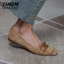 ISNOM Women Genuine Leather Fringe Flats Suede Chunky High Heel Shoes Chain Decor Elegant Spring Autumn Casual Shoes 2021