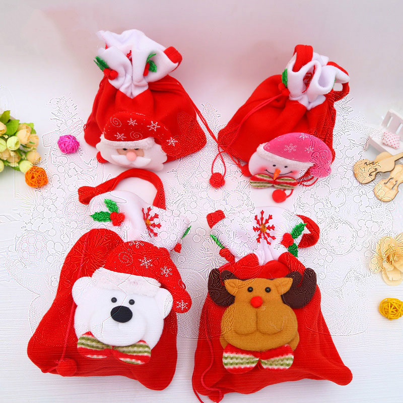 2pcsChristmas drawstring gift bag mini socks Santa candy Christmas tree hanging decoration gifts for children