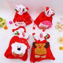 2pcsChristmas drawstring gift bag mini socks Santa candy gift bag Christmas tree hanging decoration Christmas gifts for children hanging ornaments pattern christmas candy bag drawstring backpack