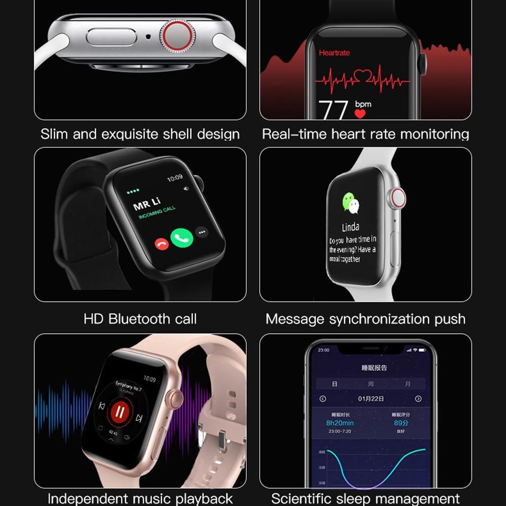 Smart Watch uomo Smartwatch donna Bluetooth Call Watch impermeabile Fitness Tracker Music Control 2020 per Iphone Xiaomi Huawei IWO 2