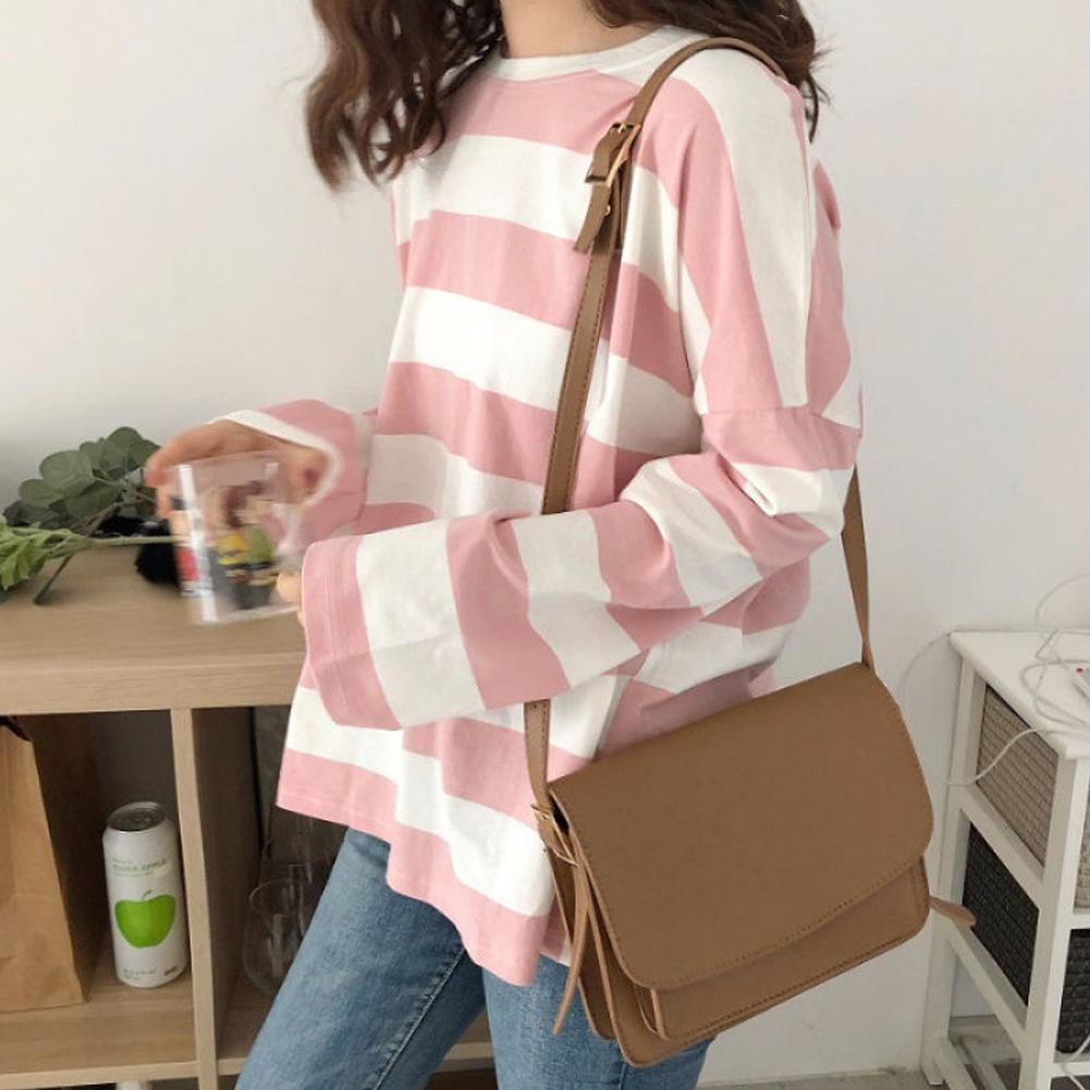 2019 New Striped Loose T-Shirts Women Long Sleeve O Neck Female T Shirt Casual Tops Big Size Women Clothes