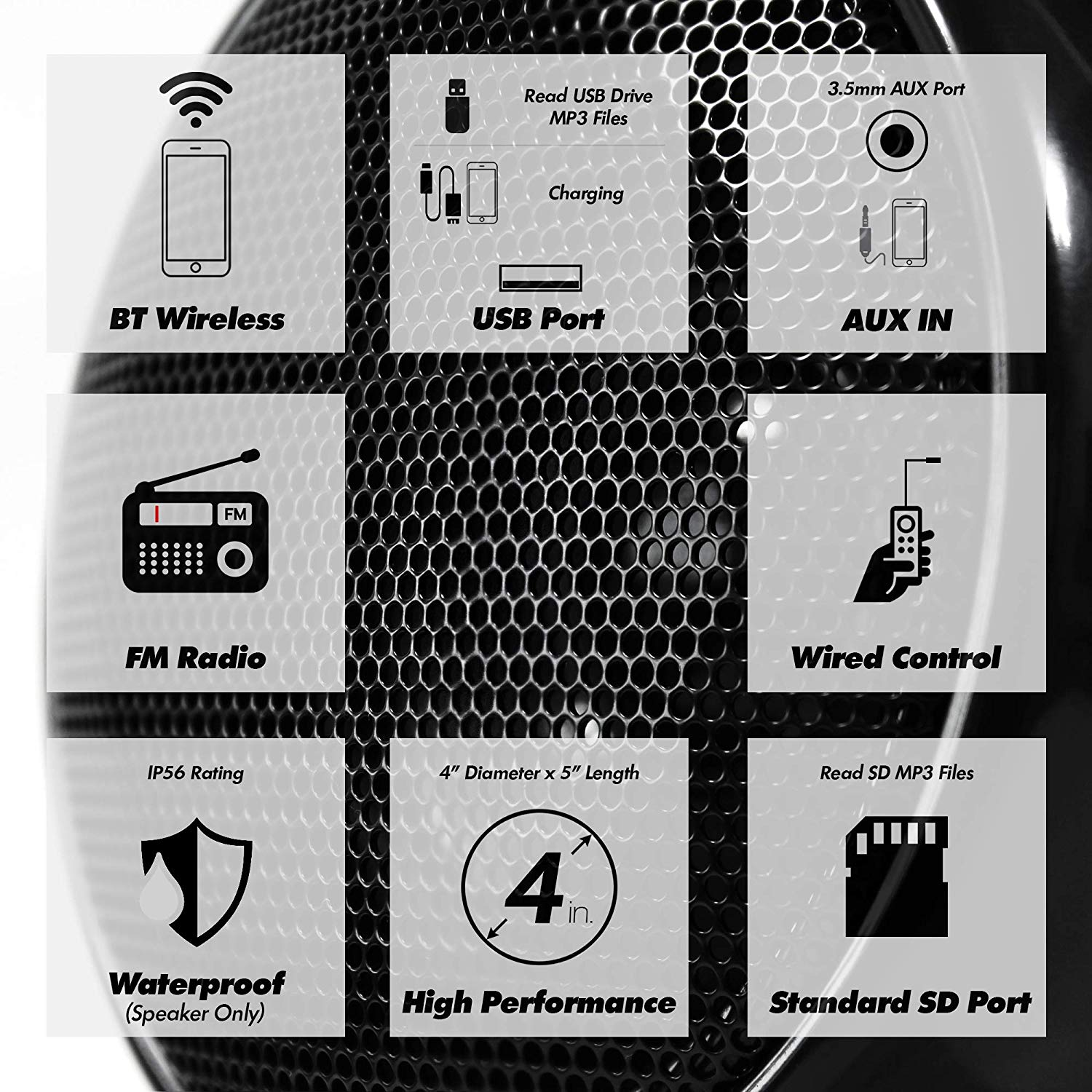 Image 3 - Aileap 1000W Motorcycle Audio 4 Channel Amplifier Speakers System, Support Bluetooth, AUX, FM Radio, SD Card, USB Stick (Black)Motorcycle Audio   -