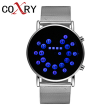 COXRY Hot Sale Binary Watch Men Digital Electronic Luxury Creative Watches Mens Fashion LED Sport For Clock